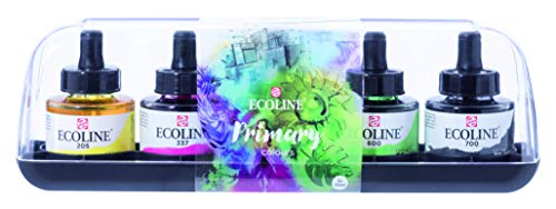 Royal Talens Ecoline Liquid Watercolor, 30ml Bottle, Set of 5 Colors