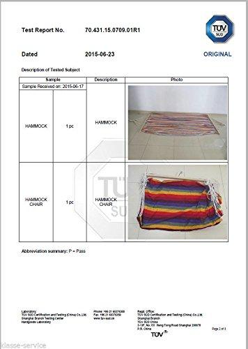Kronenburg Hängesessel / Hängestuhl XL mit Querholz – Belastbarkeit bis 150 kg Beige - 4