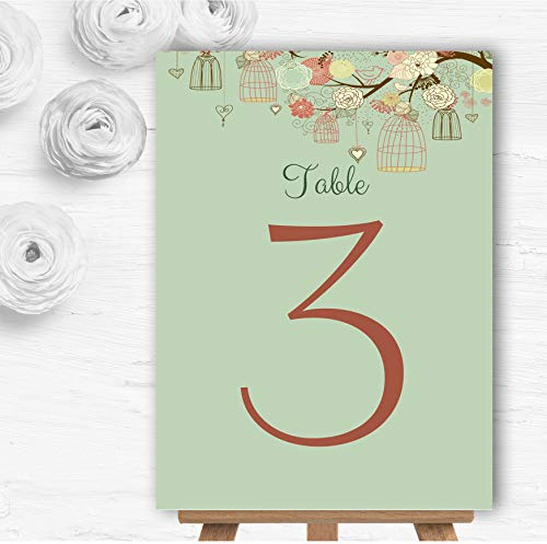 Vintage Shabby Chic Vogelkooi Groen Gepersonaliseerd Wedding Table Nummer Naam Kaarten 1 x Small A6