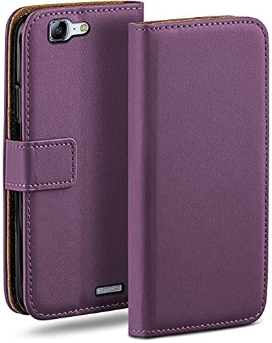 moex Klapphülle kompatibel mit Huawei Ascend G7 Hülle klappbar, Handyhülle mit Kartenfach, 360 Grad Flip Hülle, Vegan Leder Handytasche, Lila
