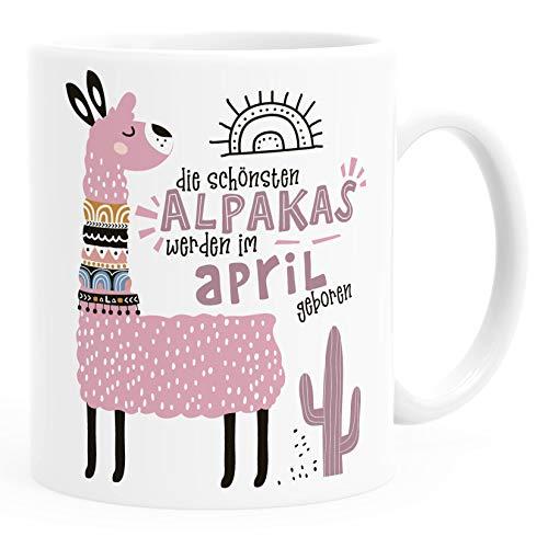 SpecialMe Taza de café con diseño de las mejores alpacas nacidas en enero a diciembre, personalizable, regalo de cumpleaños personalizable, diseño de Lama April, color rosa y blanco