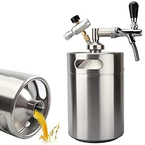KELUNIS Acero Inoxidable 158OZ Growler Tap System, Mini Barril De Cerveza con Grifo Ajustable E Inyector De CO2 para Cerveza Artesanal, De Barril Y Cerveza Casera