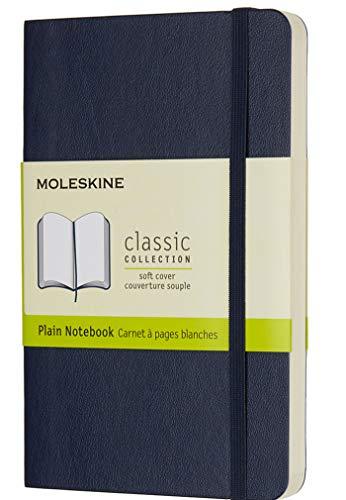 Moleskine Classic Notebook, Taccuino con Pagine Bianche, Copertina Morbida e Chiusura ad Elastico, Formato Medium 11,5 x 18 cm, Colore Blu Zaffiro, 192 Pagine