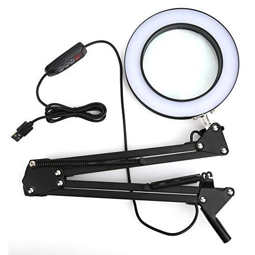 LED 5X Vergrootlamp, Dimbaar 5X Vergrootglas Bureaulamp met 3 Kleuren Verlichte USB Aangedreven voor het lezen Solderen Reparatie