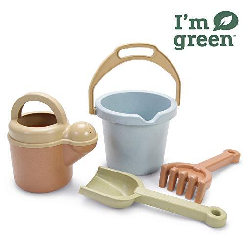 Dantoy - Bio Juguete Juego de cubeta y pala de 4 piezas, juguetes respetuosos con el medio ambiente hechos de caña de azúcar
