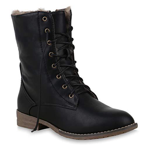 Warm Gefütterte Damen Stiefeletten Worker Boots Kunstfell Schuhe 125875 Schwarz Braun Brooklyn 38 Flandell