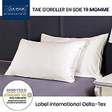 LILYSILK Taie d'oreiller 100% Soie 19MM Doux Confortable Housse d'oreiller Anti-acariens Hypoallergénique Anti-Bactérien 65x65cm Ivoire