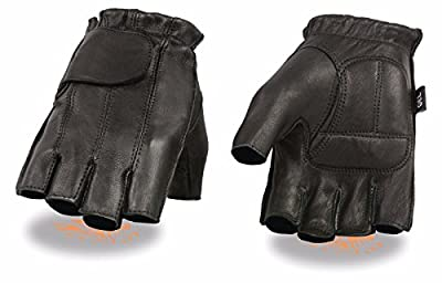 Milwaukee Motorcycle Riding Leather American Deer Skin Fingerless Gloves Very Soft Leather (2XL Regular)