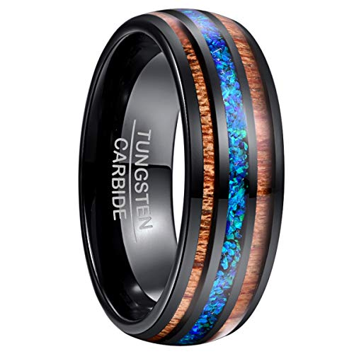 NUNCAD Tungsten Ring with Crushed Fire Opal and Hawaii Koa Wood Wedding Band for Men Women Size W1/2