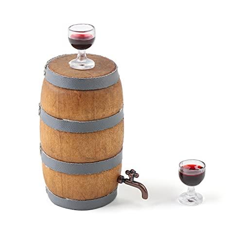 Genenic Barril de vino decorativo con grifo para 2 copas de vino modelo bolsa