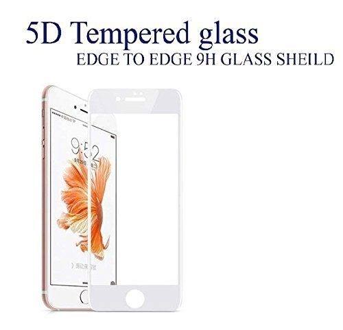 JMD Screen Protector Anti-Scratch Ultra Clear 5D Tempered Glass (Unbreakable Edges), Full Coverage for iPhone 6G+/7G+/8G+ (White)
