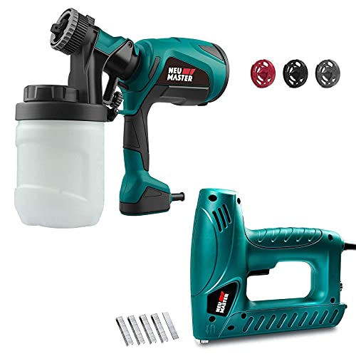 NEU MASTER Staple Gun with Contact Safety and Power Adjustable Knob(336pcs Staples and 200pcs Nails Included)and Paint Sprayer with 3 Spray Patterns, 3 Nozzles and 1200ml Detachable Canister