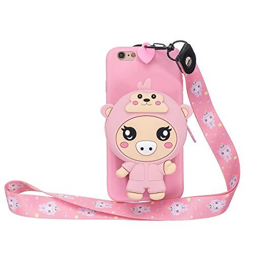 Miagon Silikon Hülle für iPhone 6 Plus / 6S Plus,3D Süß Brieftasche Lager Tasche Design mit Halskette Kordel Schnur Handykette Necklace Band,Rosa Schwein