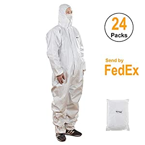 Disposable Protective Coveralls With Attached Hood,Zipper Front,Elastic Wrist and Ankle Cuffs (24, XL)