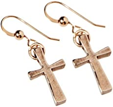 product image for Delicate Cross Peace Bronze Earrings on French Hooks