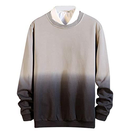 Herren Sommer Herbst Sweatshirt T-Shirts Kurzarm O Ausschnitt Sport Tees Allmählich Gefärbt Bedruckt Polyester Baumwolle Bluse Unterhemden Bodybuilding Workout Top (EU:38, Grau)