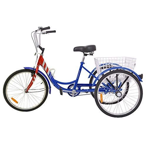 AJ FASHION 16'/20'/24' una Velocidad Triciclo 3 Ruedas Triciclo Bicicleta para Adolescente Beginning Jinete Ciclismo para Compras Exterior Picnic Sports - Azul y Rojo, 26'