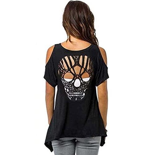 YOURPAI Blusa con Hombros Descubiertos, Camiseta de Manga Corta con Hombros Descubiertos para Mujer, Blusa sin Espalda con Corte de Calavera Hueca, Informal, 94 cm * 76 cm * 100 cm