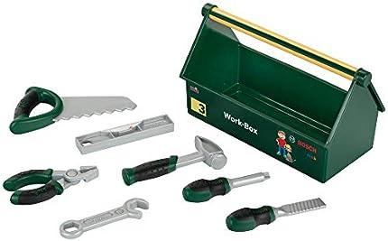 Theo Klein 8573 Caja de herramientas, Set de herramientas de 7 piezas, Caja estable con práctica asa de transporte, Medidas: 30.25 cm x 14 cm x 17.25 cm, Juguete para niños a partir de 3 años