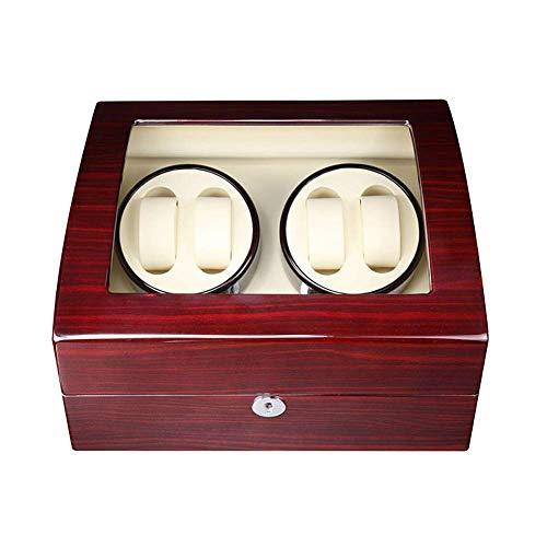 AMAFS Caja de Madera enrolladora automática para 4 Relojes + 6 Posiciones de Almacenamiento Ventanas de visualización silenciosas con Cerradura Festival