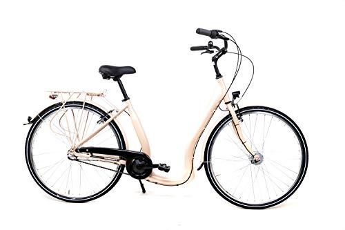 28 Zoll Alu Fahrrad City Bike Damen 3 Gang Nabenschaltung Tiefeinsteiger Beige