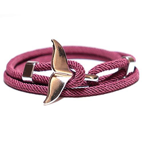 HUIZHANG Pulsera de hilo trenzado de moda para hombres y mujeres, linda cola de pez, ajustable Braslet minimalista paraguas cuerda