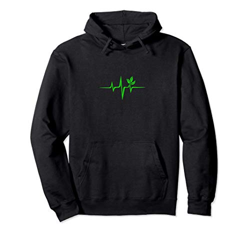 Pulse, green, heartbeat, vegan, plant, nature, environment Pullover Hoodie