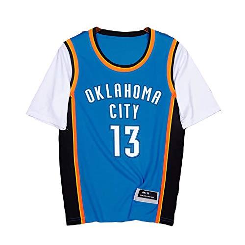 Paul George, N ° 13, camiseta del equipo Thunder, 13 #, falso uniforme de baloncesto de dos piezas de manga corta, tejido elástico transpirable de secado rápido, ropa deportiva para fanáticos. (Bl