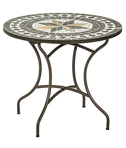 Dehner Gartentisch Diana, Ø 90 cm, Höhe 75 cm, Metall, mosaikoptik, braun/grau/weiß