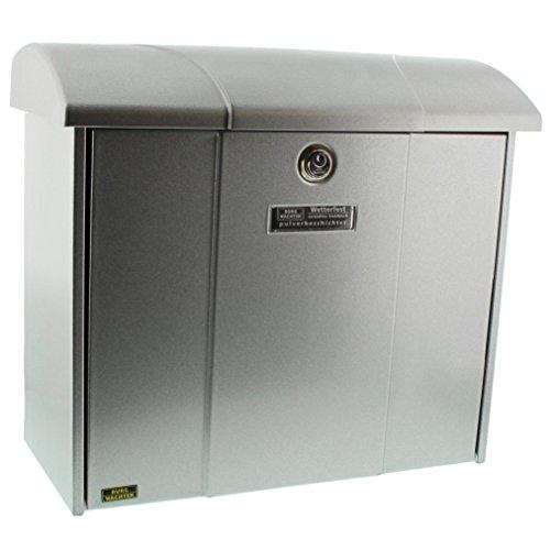 Burg-Wächter Briefkasten mit aufklappbarem Regendach, A4 Einwurf-Format, EU Norm EN 13724, Verzinkter Stahl, Olymp 916 Si, Silber