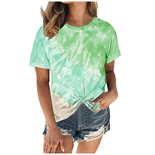 LUDAY Plus Size T-Shirt,Women Summer Casual O-Neck Short Sleeve Printing Patchwork Tunic Tops Color Block Basic Shirts