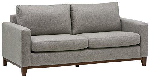 Amazon Marke -Rivet North Modernes Sofa mit freiliegendem Holzgestell, B 198cm, Grau gewebt
