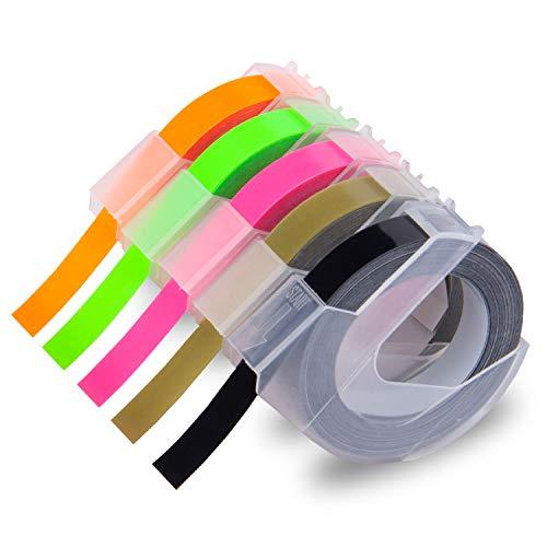 Xemax kompatibel Schriftbänder Ersatz für Dymo 3D Prägeband Kunststoff Etikettenband für Dymo Junior Omega 1540, Motex E-101 E-303, Schwarz/Fluoreszierend Grün Rosa Orange/Gold, 9mm x 3m, 5er-Pack