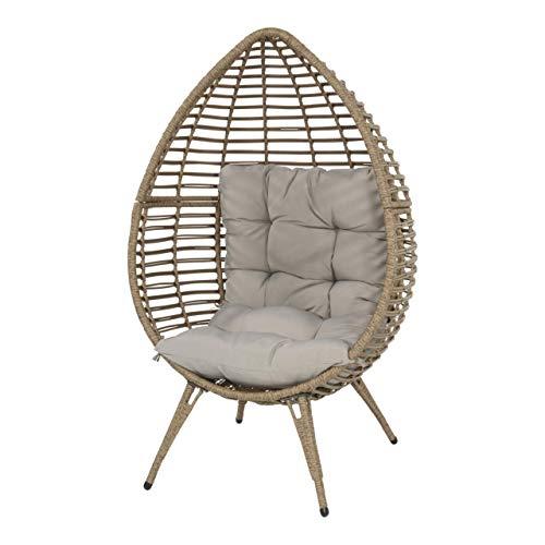 Lesli Living Korbsessel Chill Straw in Eiform mit Kissen Relaxstuhl Gartenmöbel Schwebesessel Cocoon Chair beige