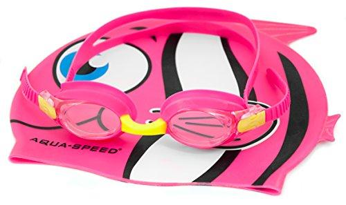 Aqua-Speed Herren Fischmütze und Brille Set Schwimmbrille Einheitsgröße Rose
