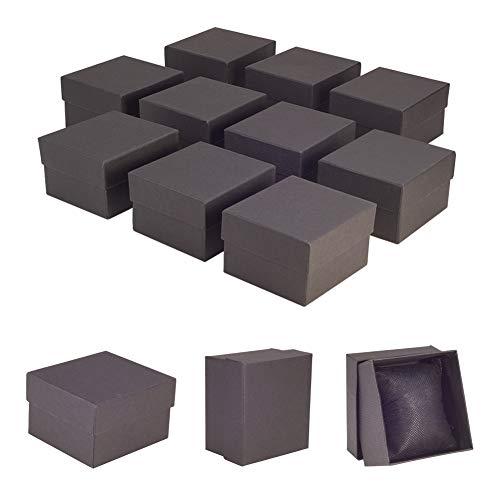 NBEADS 10 Piezas Cajas de Reloj, Caja de Cartón Artesanal Negra con Esponja Interior para Joyería Pulsera Collar Embalaje de Reloj, 8,9 x 8,1 x 5,4 cm