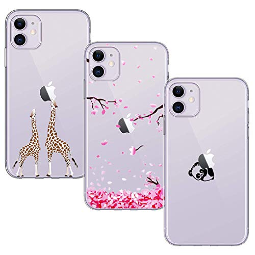 BAOWEI [3-Stück] iPhone 11 Hülle, Transparent Weiche Durchsichtig Dünn Handyhülle mit Süße Muster Silikon Klar TPU Stoßfest Schutzhülle Hülle für iPhone 11 6.1'' - Kirschblüte, Panda und Giraffe
