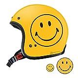 SmileyFace 限定 オリジナル ジェット ヘルメット YELLOW SF0010 (XL) スマイリー ステッカー おまけ付き
