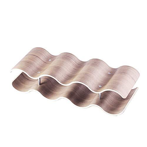 LULUVicky Botellero decorativo de madera para vino o uva, estante de vino para casa (tamaño: 2 capas 41,5 x 15,5 x 10,5 cm; color: natural)
