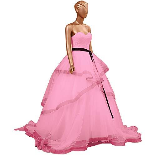 HUINI Abendkleider Lang Elegant Hochzeitskleider Organza Ballkleider Rückenfrei Brautkleider Standesamt Brautmode Quinceanera Kleider Rosa 46
