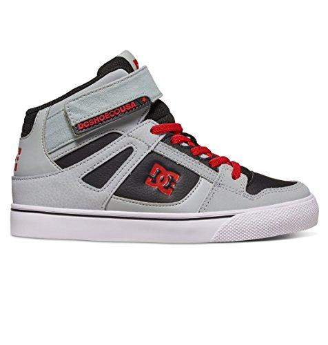 DC Kids Spartan High EV Sneaker, Grey/Black/Red, 7 M US Little Kid