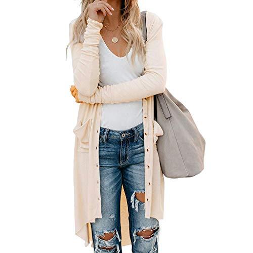 GOKOMO Damen Herbst Strickjacke Cardigan Kurze Offene Blazer Jacke Mantel Pullover Tops(Beige,XX-Large)