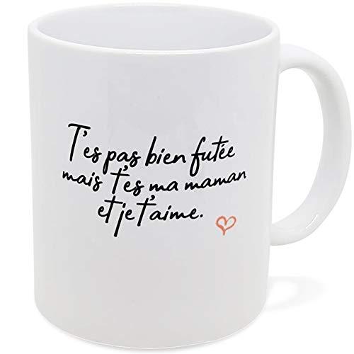Taza con texto en inglés «Man pas bien afiladas» – Idea de regalo original para amigos, pareja enamorada, colegio, madre para cumpleaños, fiesta, Navidad, Dino Mugs Le Sourire desde el despertador.