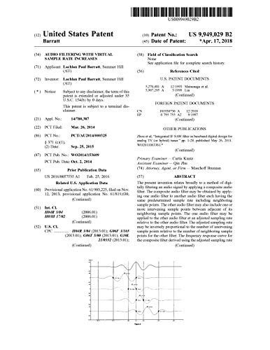 Audio filtering with virtual sample rate increases: United States Patent 9949029 (English Edition)