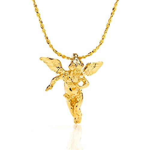 LIFETIME JEWELRY Medium Guardian Angel Pendant Necklace Charm 24K gold plated