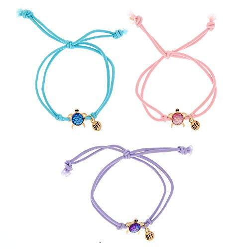 Claire's Matching Pastel Turtle Best Friends Adjustable Bracelets, Multiple Colours, Stretch Fit, Bolo Closure, Set of 3