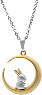 Bunny On The Moon 925 Sterling Silver Collar Necklace