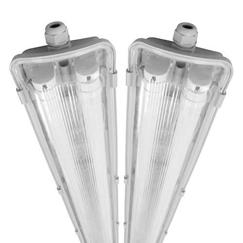 proventa® Luminaria pantalla estanca LED IP65 120 cm. Tubos LED incluidos 4.000K 36W 3.600 lúmenes. Protección IK08. Clase energética A+. Set ahorro 2 unidades