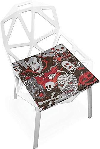 Cojín de asiento de meditación de Halloween con diseño de monstruos de terror, suave, antideslizante, espuma de memoria, cojines de asiento para el hogar, cocina, oficina, escritorio de 38 x 35 cm