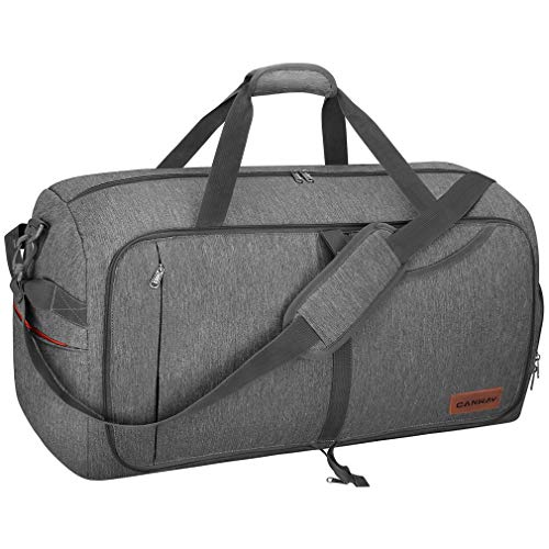 CANWAY 65L Travel Duffel Bag, Foldable Weekender Bag with Shoes Compartment for Men Women Water Proof & Tear Resistant (Heron Gray, 65L)